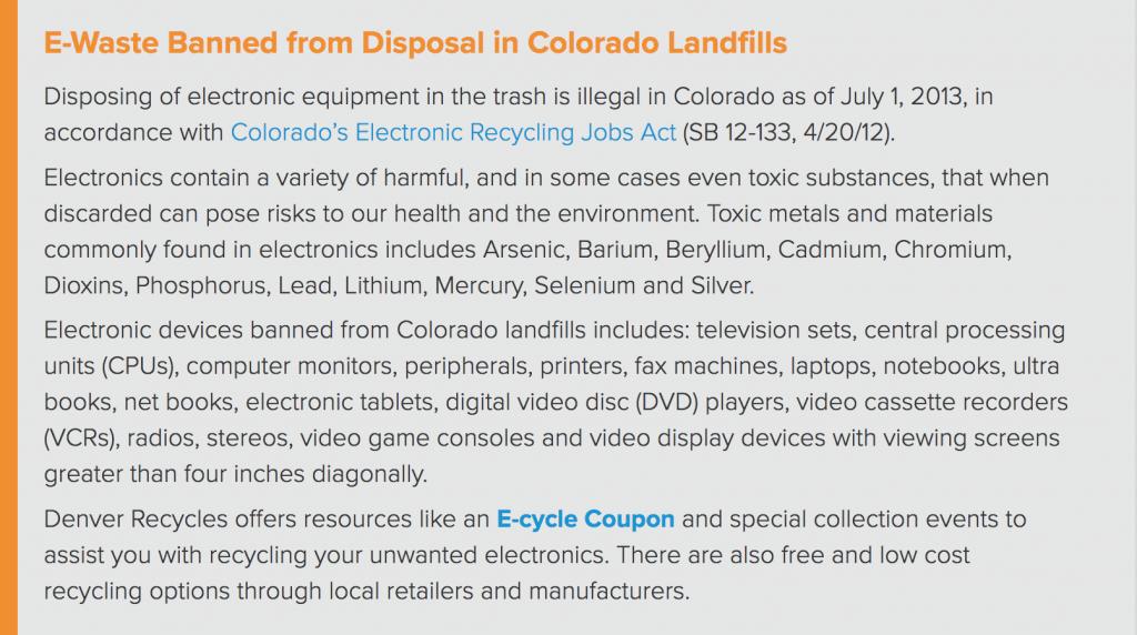 Denver - E-Waste Banned From Landfills